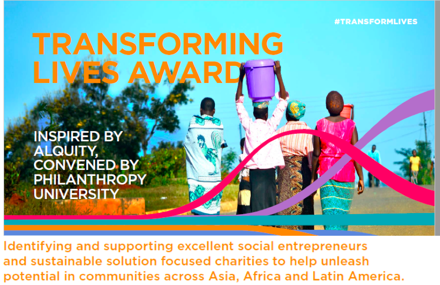 Transforming lives award - inspired by Alquity, convened by Philanthropy University!
